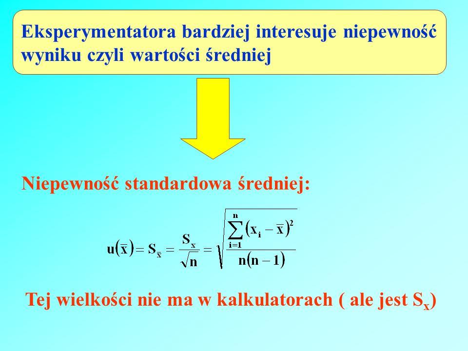 Eksperymentatora bardziej interesuje niepewność wyniku czyli wartości średniej Niepewność standardowa średniej: Tej wielkości nie ma w kalkulatorach (