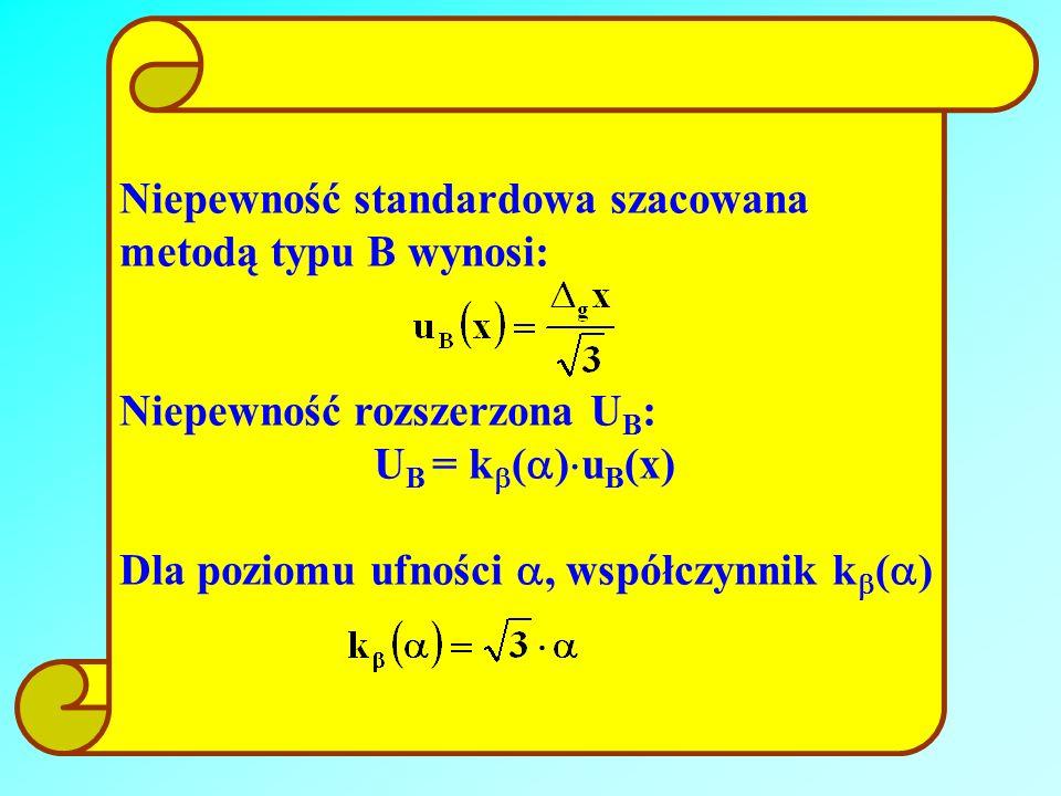 Niepewność standardowa szacowana metodą typu B wynosi: Niepewność rozszerzona U B : U B = k ( ) u B (x) Dla poziomu ufności, współczynnik k ( )