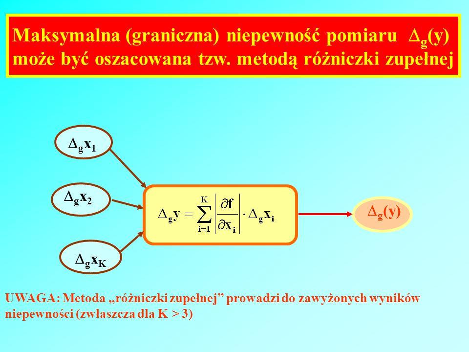 Maksymalna (graniczna) niepewność pomiaru g (y) może być oszacowana tzw. metodą różniczki zupełnej g x 1 g x 2 g x K g (y) UWAGA: Metoda różniczki zup