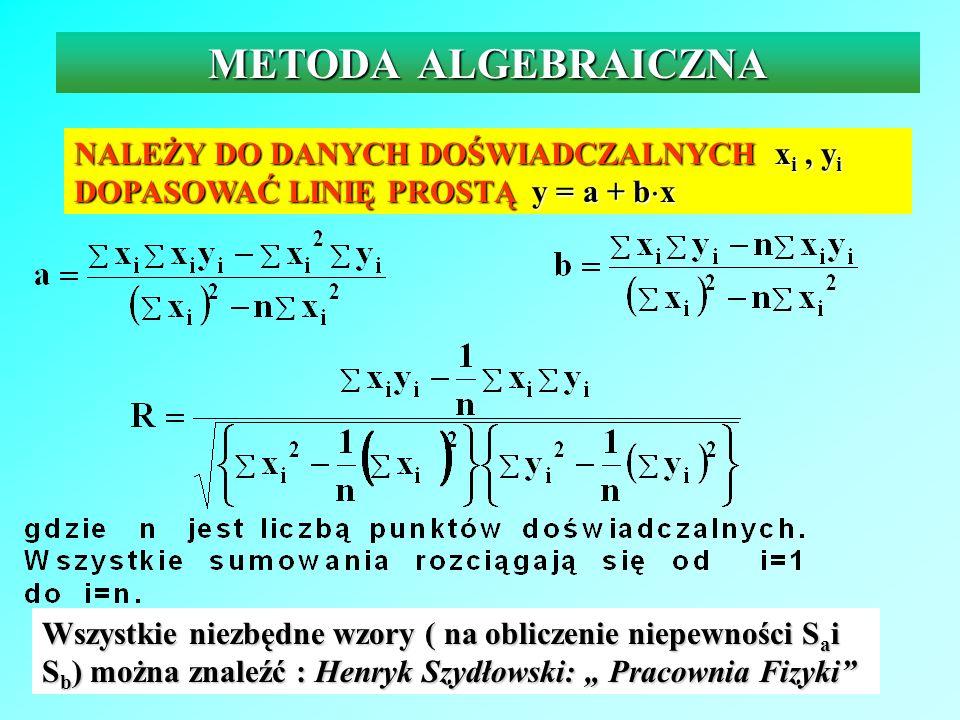 METODA ALGEBRAICZNA NALEŻY DO DANYCH DOŚWIADCZALNYCH x i, y i DOPASOWAĆ LINIĘ PROSTĄ y = a + b x Wszystkie niezbędne wzory ( na obliczenie niepewności