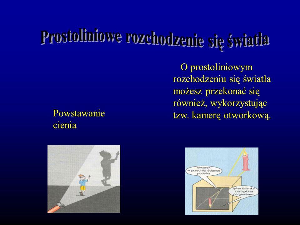 Powstawanie cienia O prostoliniowym rozchodzeniu się światła możesz przekonać się również, wykorzystując tzw.