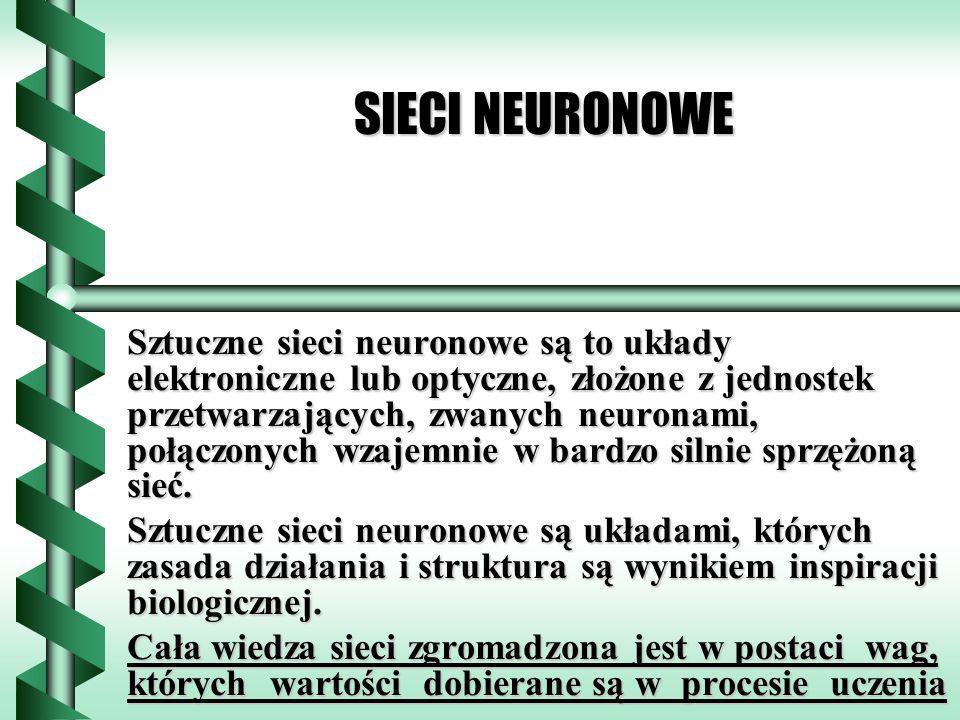 SIECI NEURONOWE Sztuczne sieci neuronowe są to układy elektroniczne lub optyczne, złożone z jednostek przetwarzających, zwanych neuronami, połączonych