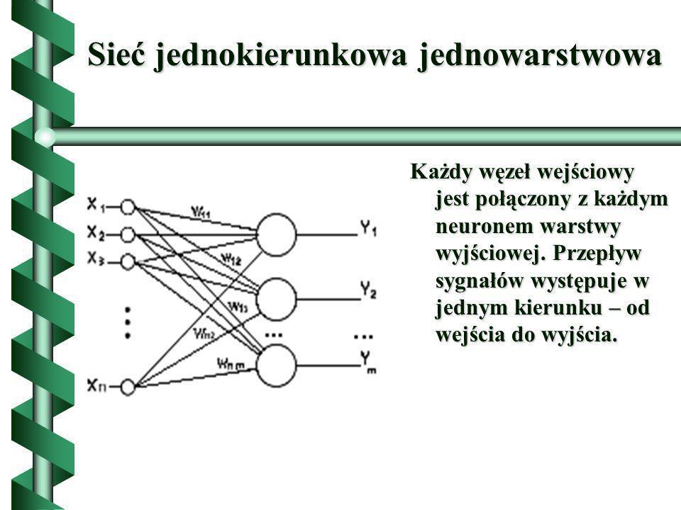 Sieć jednokierunkowa jednowarstwowa Każdy węzeł wejściowy jest połączony z każdym neuronem warstwy wyjściowej. Przepływ sygnałów występuje w jednym ki