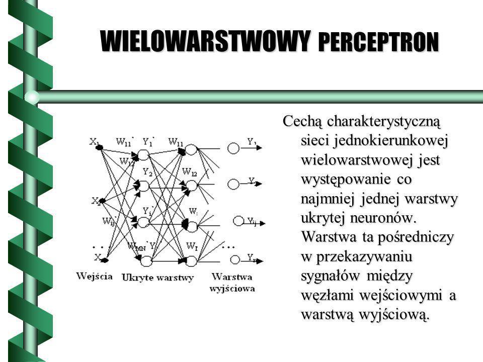WIELOWARSTWOWY PERCEPTRON Cechą charakterystyczną sieci jednokierunkowej wielowarstwowej jest występowanie co najmniej jednej warstwy ukrytej neuronów