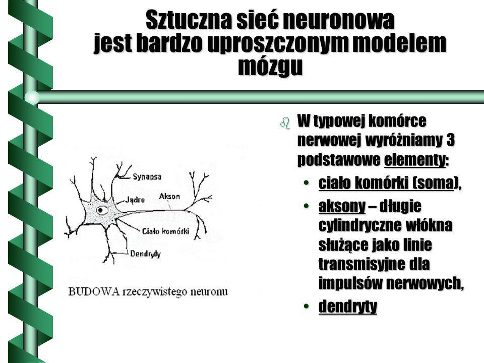 Sztuczna sieć neuronowa jest bardzo uproszczonym modelem mózgu b W typowej komórce nerwowej wyróżniamy 3 podstawowe elementy: ciało komórki (soma), ak