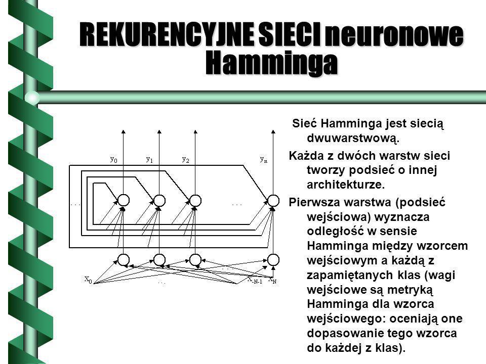 REKURENCYJNE SIECI neuronowe Hamminga Sieć Hamminga jest siecią dwuwarstwową. Każda z dwóch warstw sieci tworzy podsieć o innej architekturze. Pierwsz