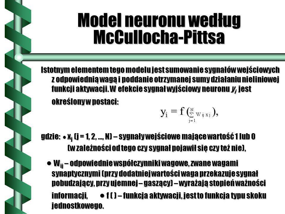 Model neuronu według McCullocha-Pittsa Istotnym elementem tego modelu jest sumowanie sygnałów wejściowych z odpowiednią wagą i poddanie otrzymanej sum
