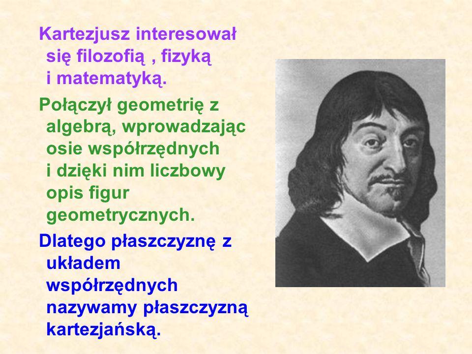 TWÓRCĄ PROSTOKĄTNEGO UKŁADU WSPÓŁRZĘDNYCH BYŁ: Francuski matematyk René Descartes (1596 - 1650) (czytamy: Dekart), nazywany w Polsce Kartezjuszem Kart