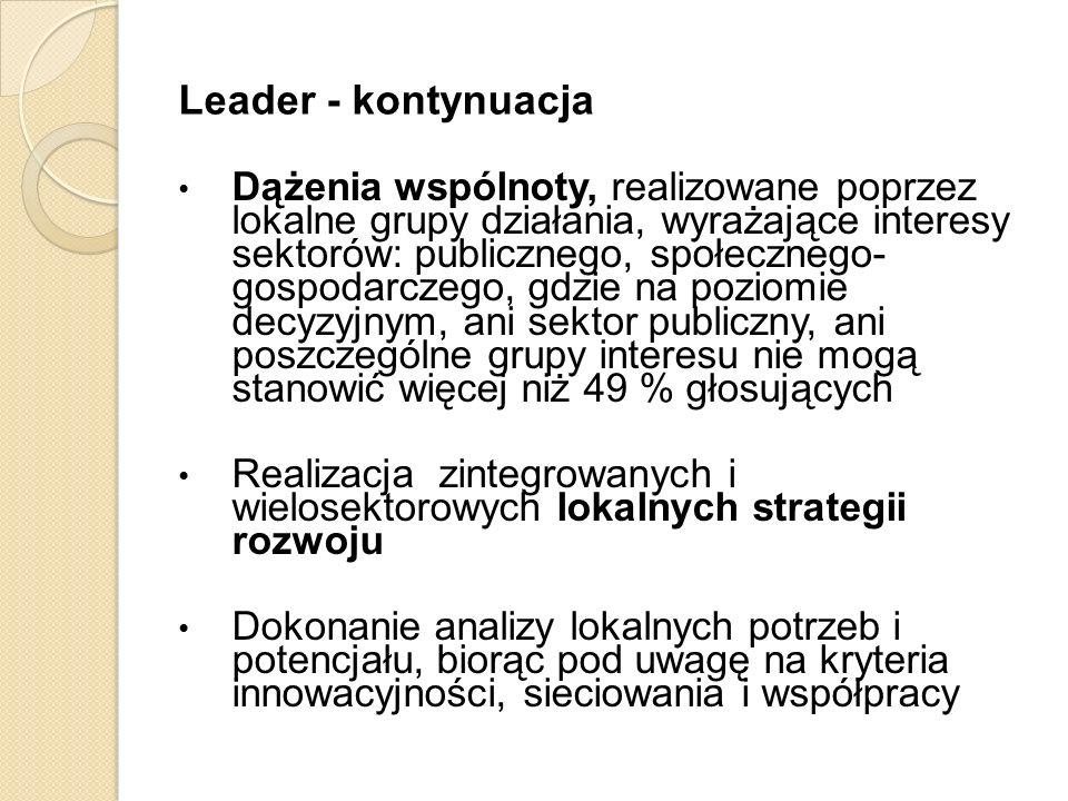 Leader - kontynuacja Dążenia wspólnoty, realizowane poprzez lokalne grupy działania, wyrażające interesy sektorów: publicznego, społecznego- gospodarc