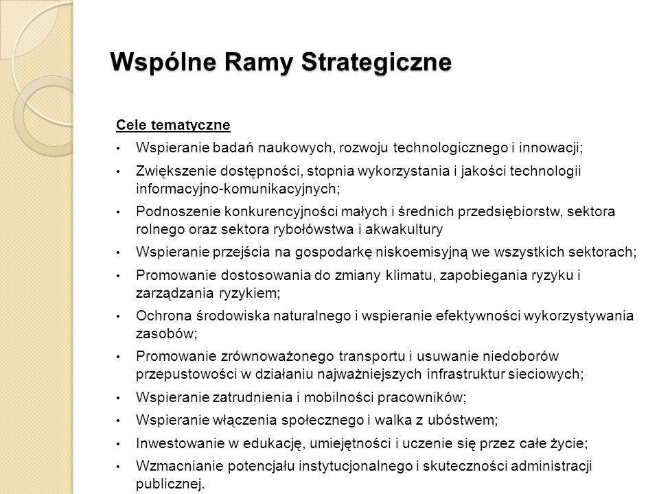 Wspólne Ramy Strategiczne Cele tematyczne Wspieranie badań naukowych, rozwoju technologicznego i innowacji; Zwiększenie dostępności, stopnia wykorzyst