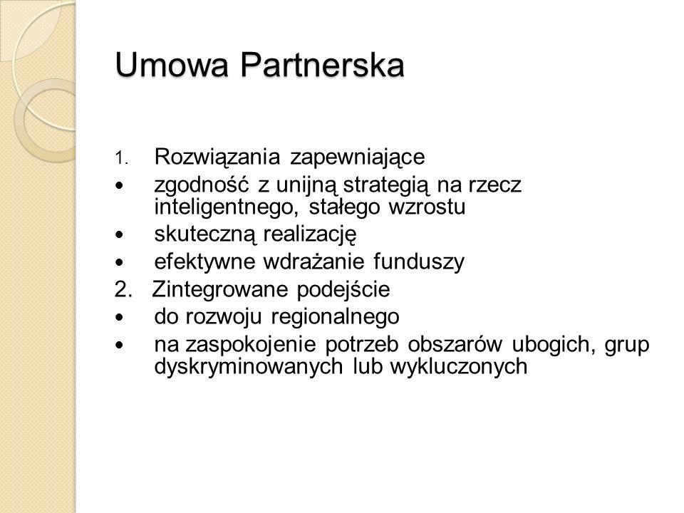 Umowa Partnerska 1. Rozwiązania zapewniające zgodność z unijną strategią na rzecz inteligentnego, stałego wzrostu skuteczną realizację efektywne wdraż