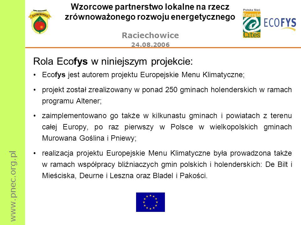 www.pnec.org.pl Wzorcowe partnerstwo lokalne na rzecz zrównoważonego rozwoju energetycznego Raciechowice 24.08.2006 Rola Ecofys w niniejszym projekcie