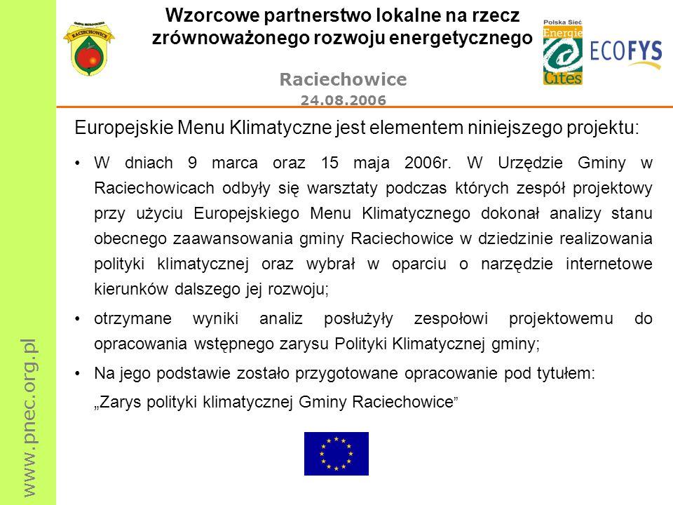 www.pnec.org.pl Wzorcowe partnerstwo lokalne na rzecz zrównoważonego rozwoju energetycznego Raciechowice 24.08.2006 Europejskie Menu Klimatyczne jest