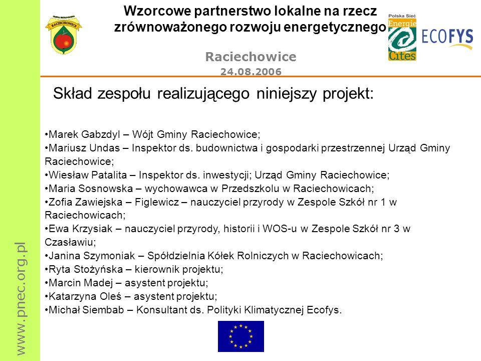 www.pnec.org.pl Wzorcowe partnerstwo lokalne na rzecz zrównoważonego rozwoju energetycznego Raciechowice 24.08.2006 Skład zespołu realizującego niniej
