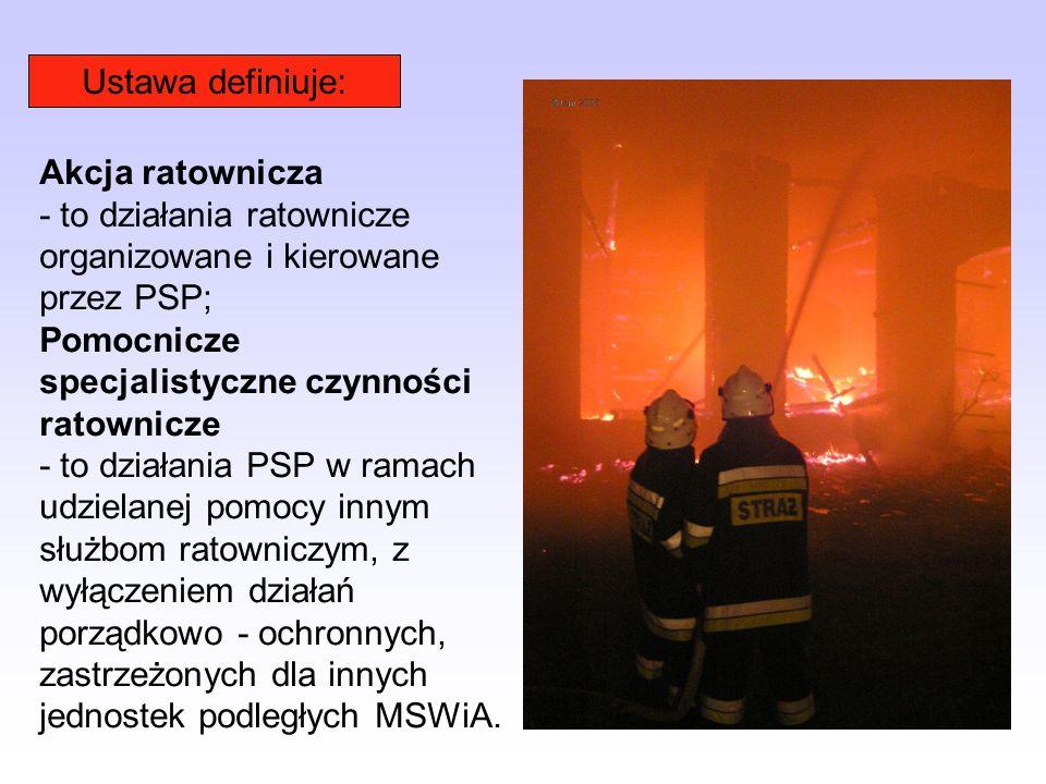 Do podstawowych zadań Państwowej Straży Pożarnej należy m. in: (Art. 1) 1) rozpoznawanie zagrożeń pożarowych i innych miejscowych zagrożeń; 2) organiz