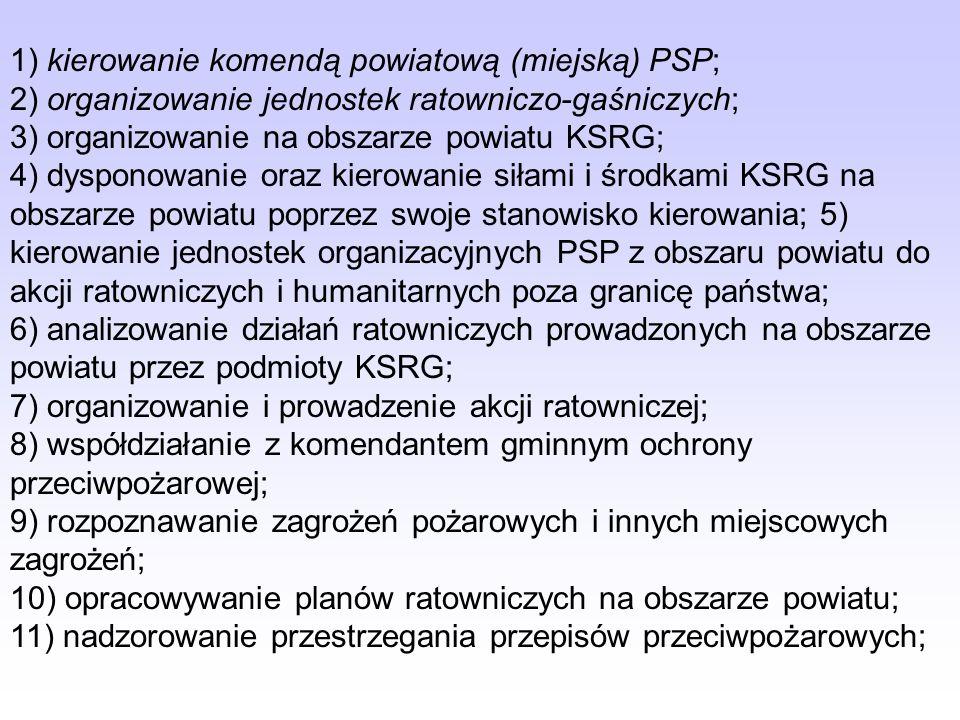 Do zadań komendanta powiatowego PSP należy: (Art. 13)