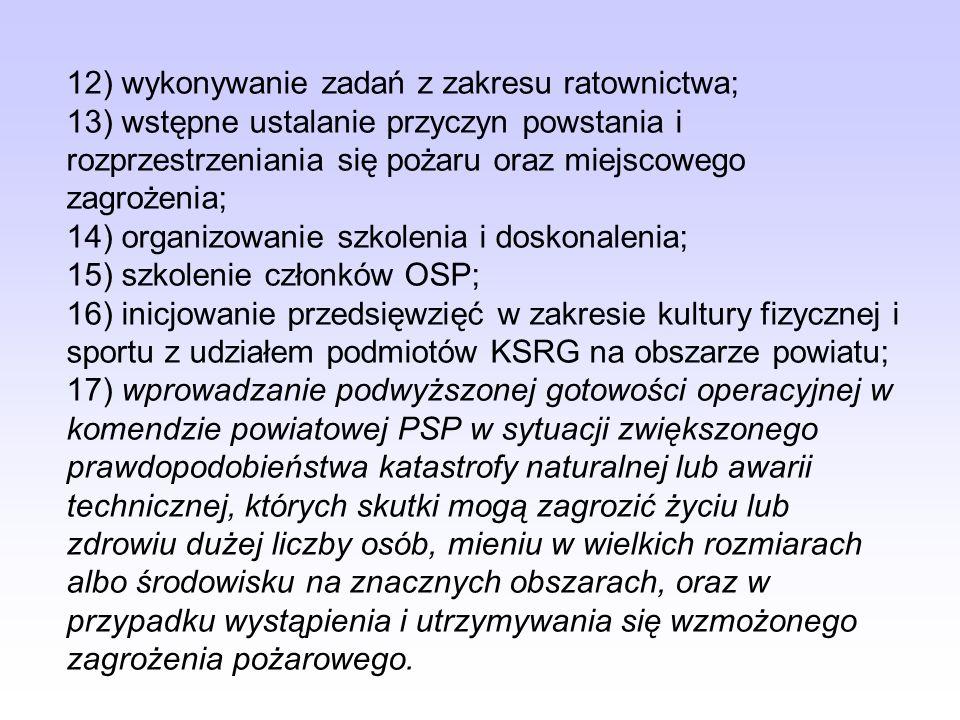1) kierowanie komendą powiatową (miejską) PSP; 2) organizowanie jednostek ratowniczo-gaśniczych; 3) organizowanie na obszarze powiatu KSRG; 4) dyspono