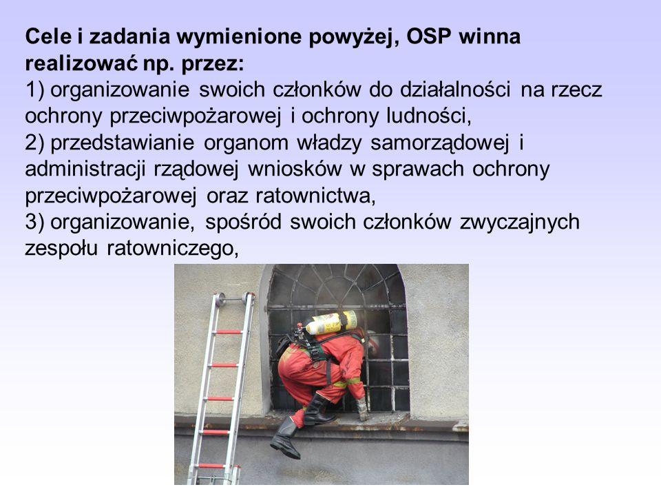 Statut OSP winien określać cele i zadania, takie jak m.in.: 1) prowadzenie działalności mającej na celu zapobieganie pożarom oraz współdziałanie w tym