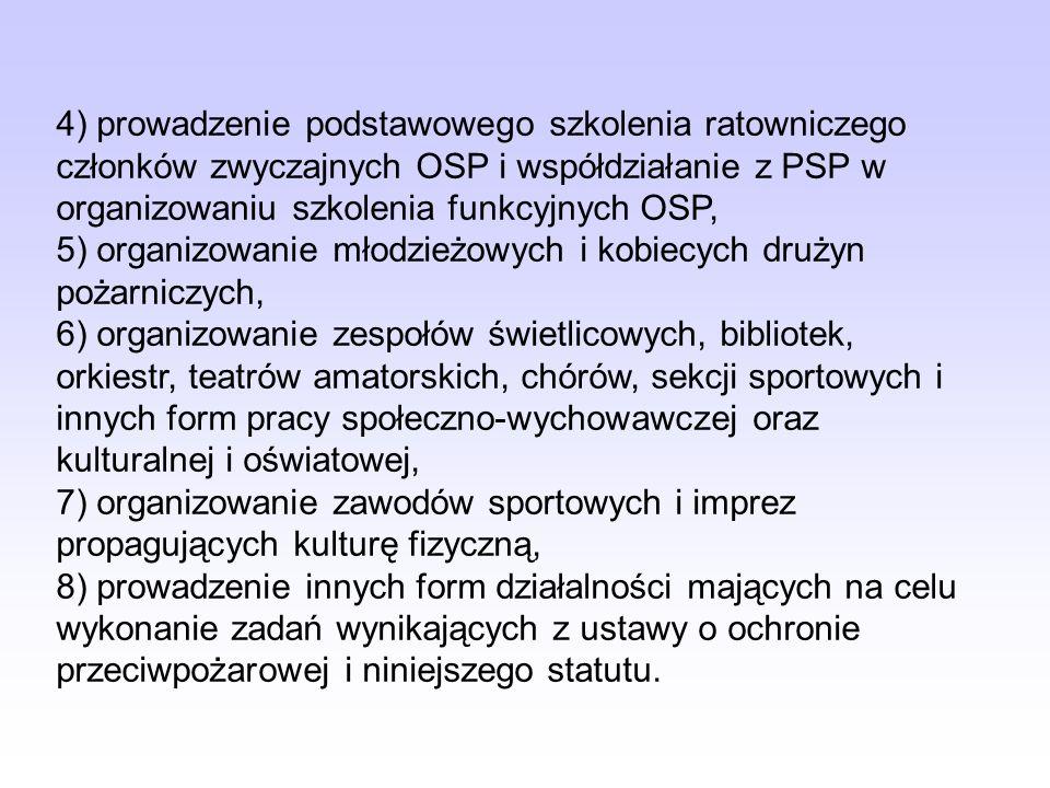 Cele i zadania wymienione powyżej, OSP winna realizować np. przez: 1) organizowanie swoich członków do działalności na rzecz ochrony przeciwpożarowej