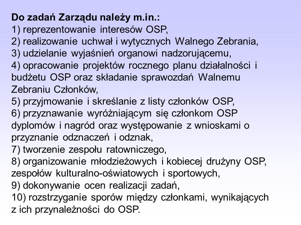 Władzami OSP są: 1) Walne Zebranie Członków OSP. Walne Zebranie Członków OSP (może być zwyczajne, sprawozdawcze oraz nadzwyczajne) jest najwyższą wład