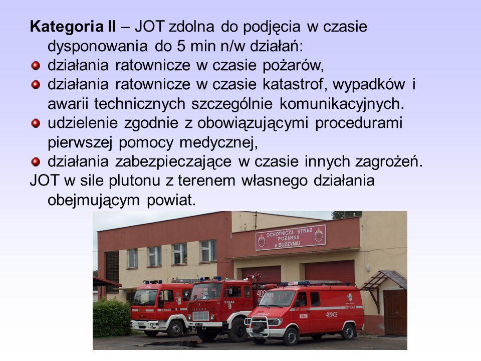 Kategoria I – JOT zdolna do podjęcia w czasie dysponowania do 5 min n/w działań: działania ratownicze w czasie pożarów, działania ratownicze w czasie