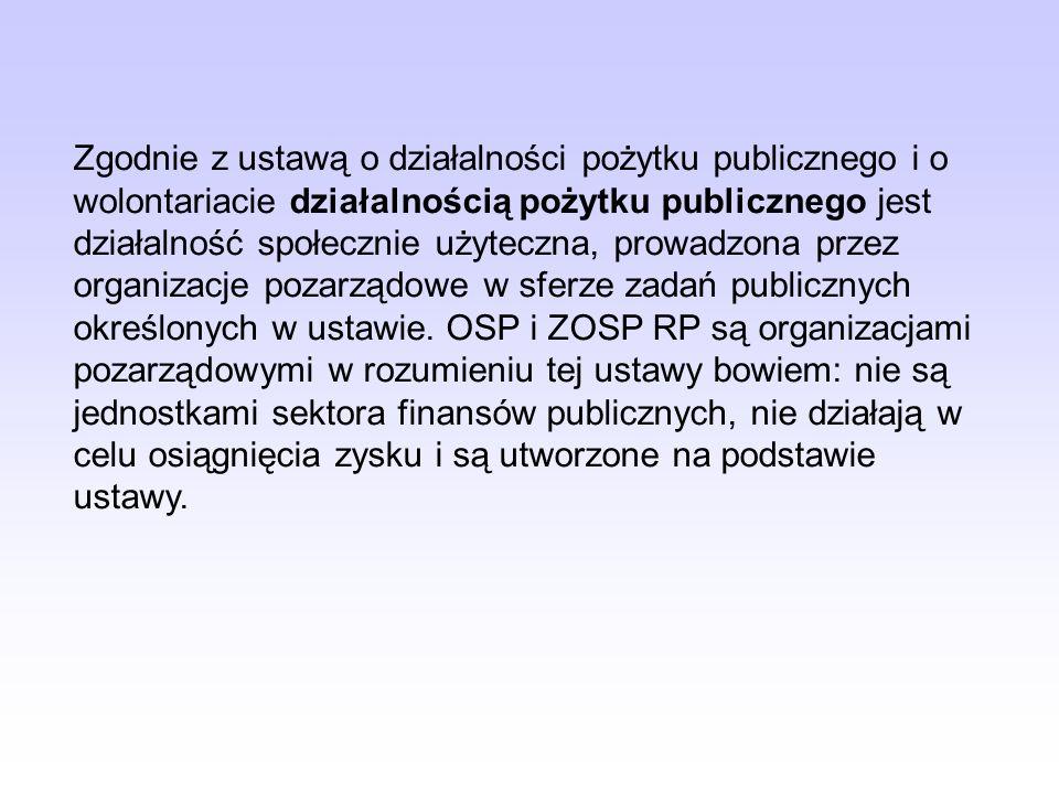 Ustawa o działalności pożytku publicznego i o wolontariacie w odniesieniu do OSP i ZOSP RP.
