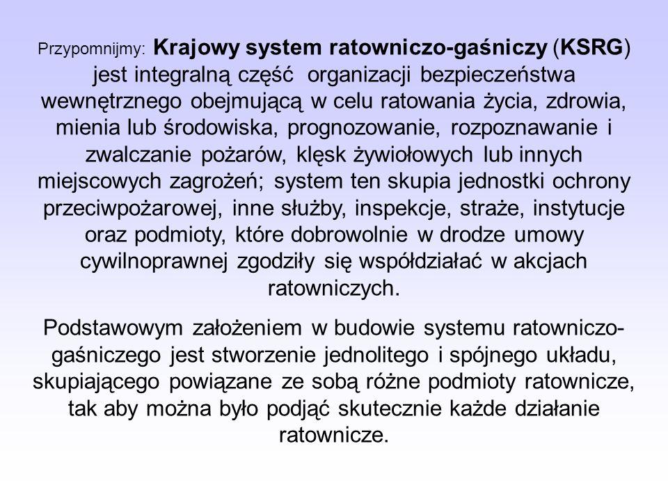 Podstawowymi elementami bezpieczeństwa wewnętrznego Państwa są systemy: Krajowy System Ratowniczo-Gaśniczy, którego podstawową bazą jest Państwowa Str