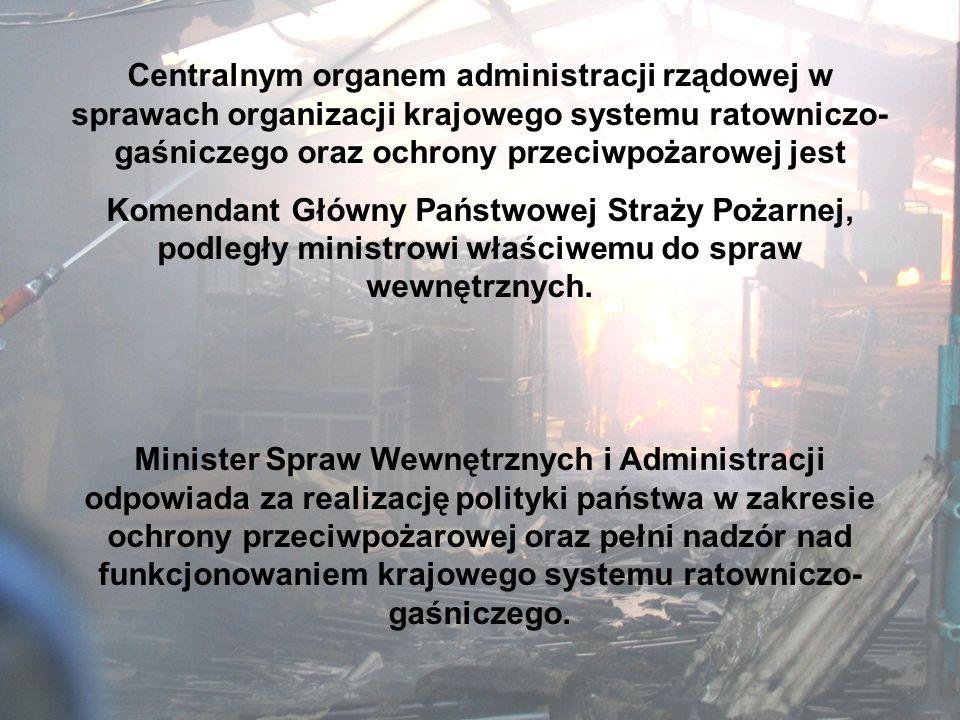 Zgodnie z właściwością terytorialną, Krajowy System Ratowniczo-Gaśniczy tworzą oraz koordynują jego funkcjonowanie, następujące organy władzy: (Art..1
