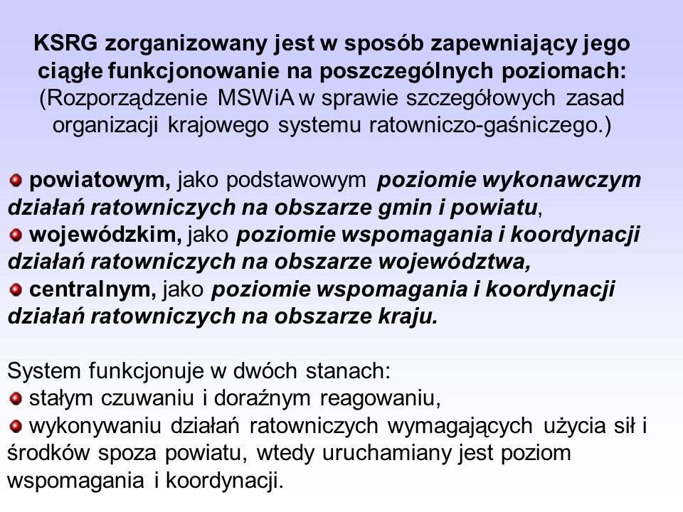 MSWiA określił, w drodze rozporządzenia, szczegółowe zasady organizacji KSRG, w szczególności w zakresie: organizacji na obszarze powiatu, województwa