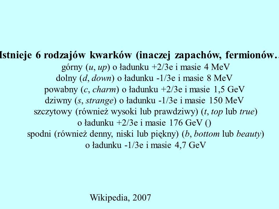 Istnieje 6 rodzajów kwarków (inaczej zapachów, fermionów…) górny (u, up) o ładunku +2/3e i masie 4 MeV dolny (d, down) o ładunku -1/3e i masie 8 MeV p