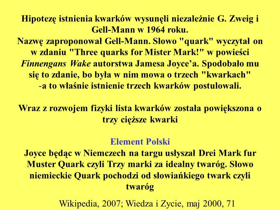 Hipotezę istnienia kwarków wysunęli niezależnie G. Zweig i Gell-Mann w 1964 roku. Nazwę zaproponował Gell-Mann. Słowo