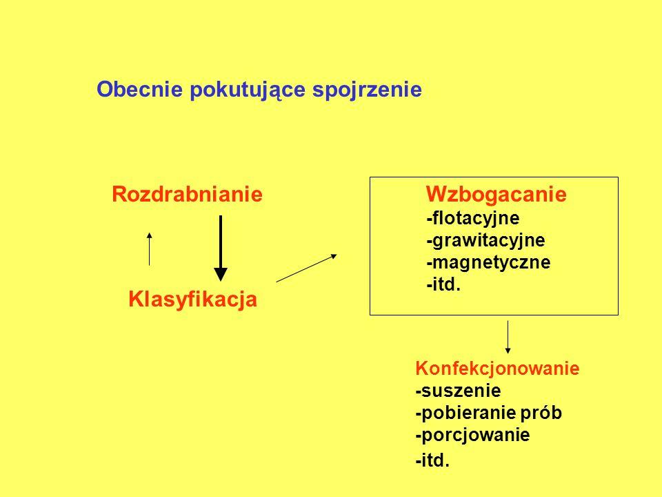 Obecnie pokutujące spojrzenie Wzbogacanie -flotacyjne -grawitacyjne -magnetyczne -itd. Konfekcjonowanie -suszenie -pobieranie prób -porcjowanie -itd.