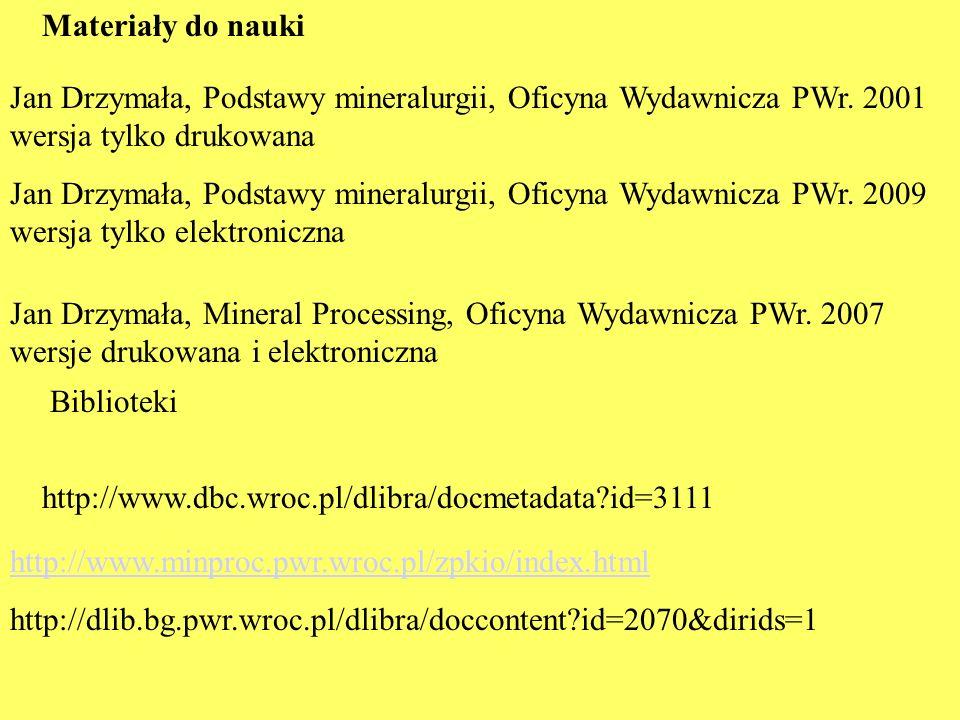 Materiały do nauki Jan Drzymała, Podstawy mineralurgii, Oficyna Wydawnicza PWr. 2001 wersja tylko drukowana Jan Drzymała, Podstawy mineralurgii, Oficy