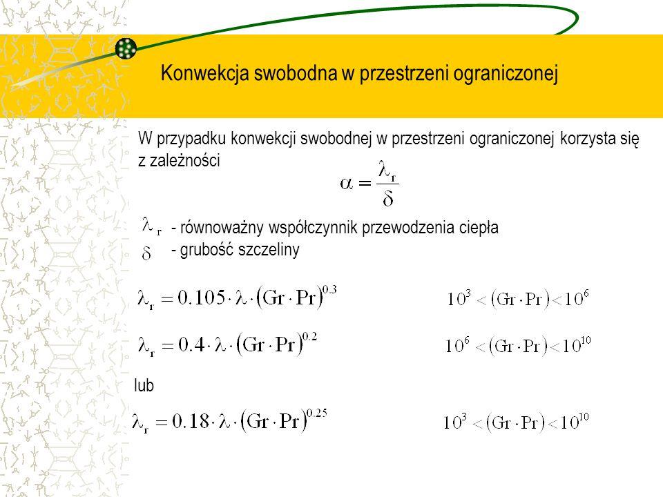 Konwekcja swobodna w przestrzeni ograniczonej W przypadku konwekcji swobodnej w przestrzeni ograniczonej korzysta się z zależności - równoważny współc