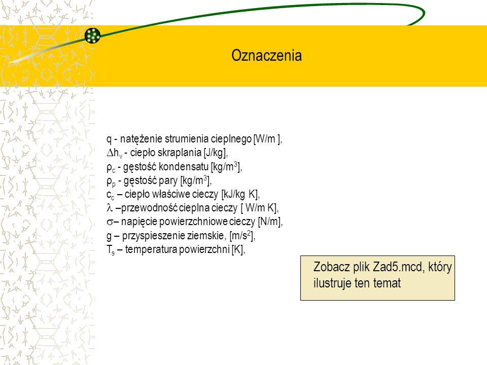 q - natężenie strumienia cieplnego [W/m ], h v - ciepło skraplania [J/kg], ρ c - gęstość kondensatu [kg/m 3 ], ρ p - gęstość pary [kg/m 3 ], c c – cie