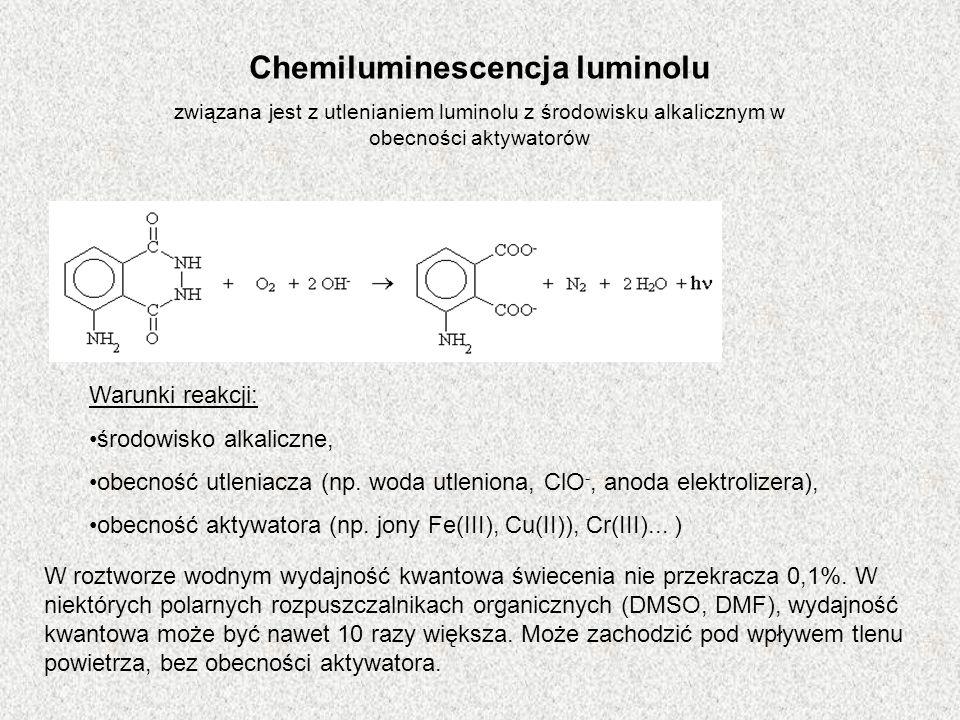 Chemiluminescencja luminolu związana jest z utlenianiem luminolu z środowisku alkalicznym w obecności aktywatorów Warunki reakcji: środowisko alkalicz