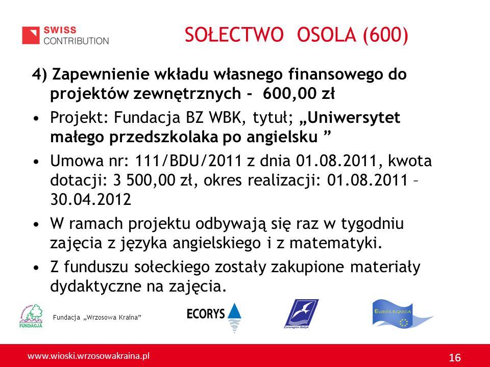 www.wioski.wrzosowakraina.pl 16 4) Zapewnienie wkładu własnego finansowego do projektów zewnętrznych - 600,00 zł Projekt: Fundacja BZ WBK, tytuł; Uniw