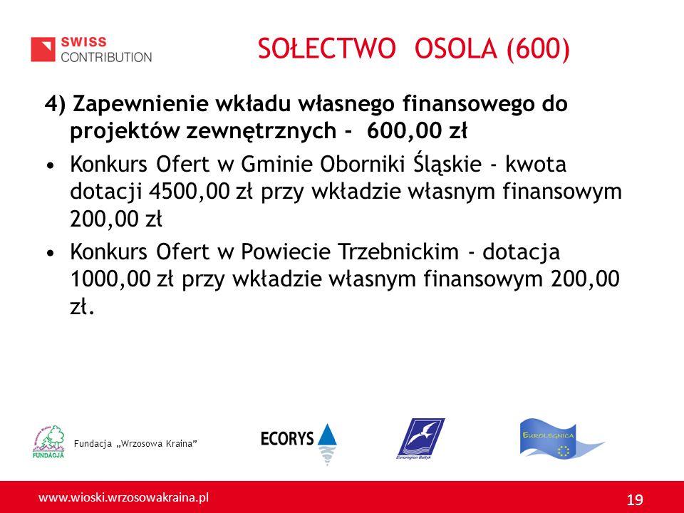 www.wioski.wrzosowakraina.pl 19 4) Zapewnienie wkładu własnego finansowego do projektów zewnętrznych - 600,00 zł Konkurs Ofert w Gminie Oborniki Śląsk