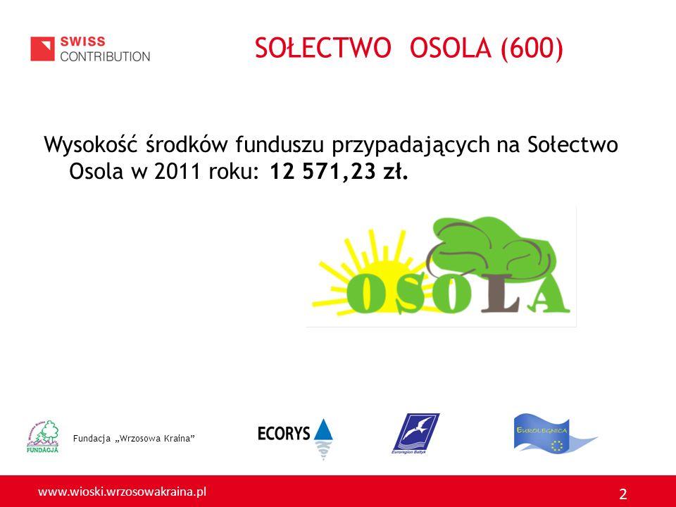 www.wioski.wrzosowakraina.pl 2 SOŁECTWO OSOLA (600) Wysokość środków funduszu przypadających na Sołectwo Osola w 2011 roku: 12 571,23 zł. Fundacja Wrz