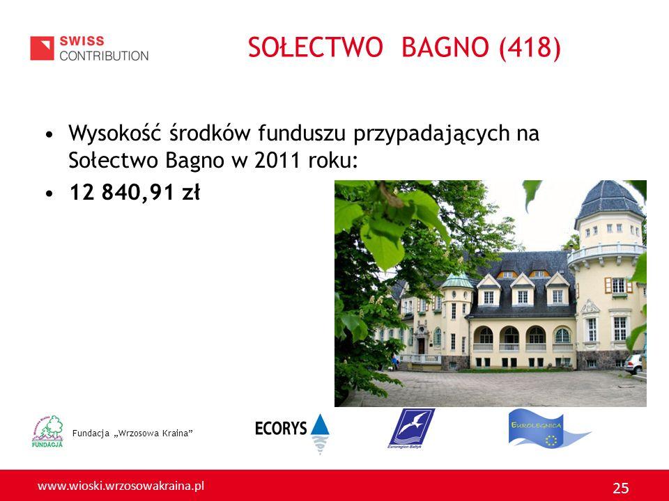 www.wioski.wrzosowakraina.pl 25 SOŁECTWO BAGNO (418) Wysokość środków funduszu przypadających na Sołectwo Bagno w 2011 roku: 12 840,91 zł Fundacja Wrz