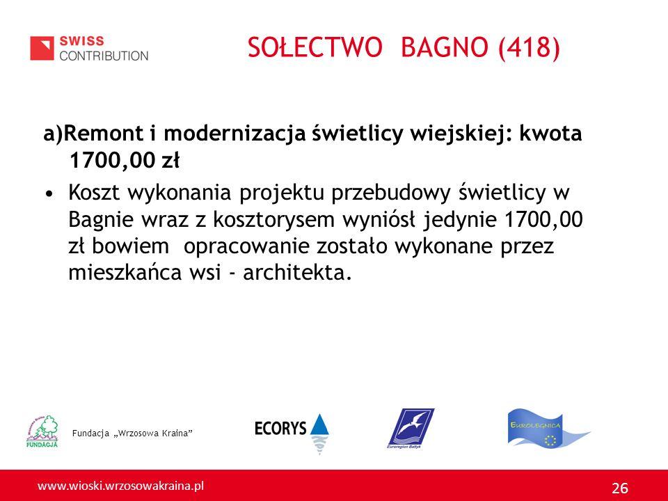 www.wioski.wrzosowakraina.pl 26 a)Remont i modernizacja świetlicy wiejskiej: kwota 1700,00 zł Koszt wykonania projektu przebudowy świetlicy w Bagnie w
