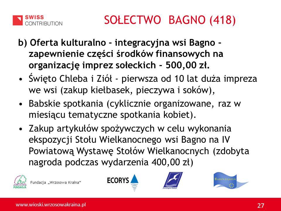 www.wioski.wrzosowakraina.pl 27 b) Oferta kulturalno - integracyjna wsi Bagno - zapewnienie części środków finansowych na organizację imprez sołeckich