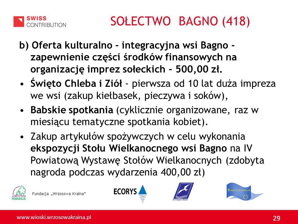 www.wioski.wrzosowakraina.pl 29 b) Oferta kulturalno - integracyjna wsi Bagno - zapewnienie części środków finansowych na organizację imprez sołeckich