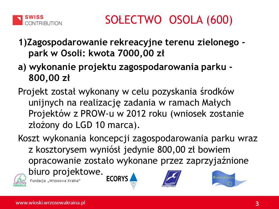 www.wioski.wrzosowakraina.pl 3 1)Zagospodarowanie rekreacyjne terenu zielonego - park w Osoli: kwota 7000,00 zł a) wykonanie projektu zagospodarowania