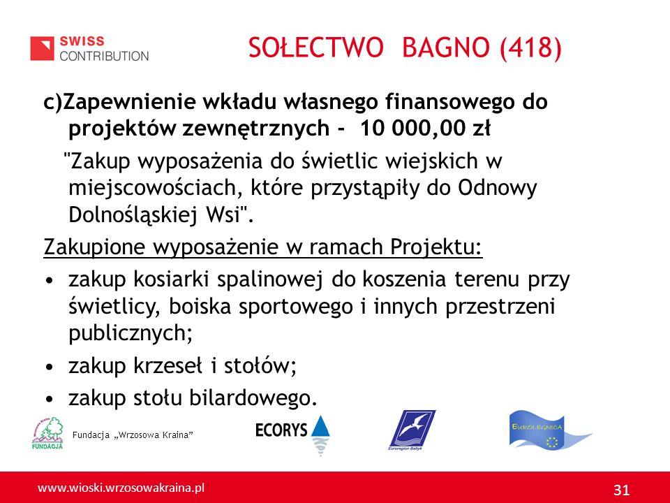 www.wioski.wrzosowakraina.pl 31 c)Zapewnienie wkładu własnego finansowego do projektów zewnętrznych - 10 000,00 zł