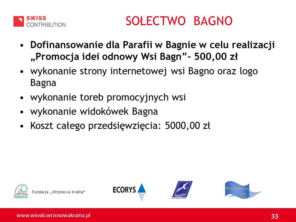 www.wioski.wrzosowakraina.pl 33 SOŁECTWO BAGNO Dofinansowanie dla Parafii w Bagnie w celu realizacji Promocja idei odnowy Wsi Bagn- 500,00 zł wykonani