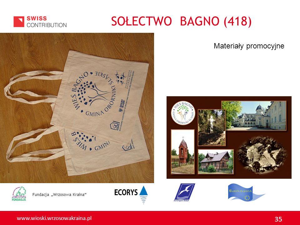 www.wioski.wrzosowakraina.pl 35 Fundacja Wrzosowa Kraina Materiały promocyjne SOŁECTWO BAGNO (418)