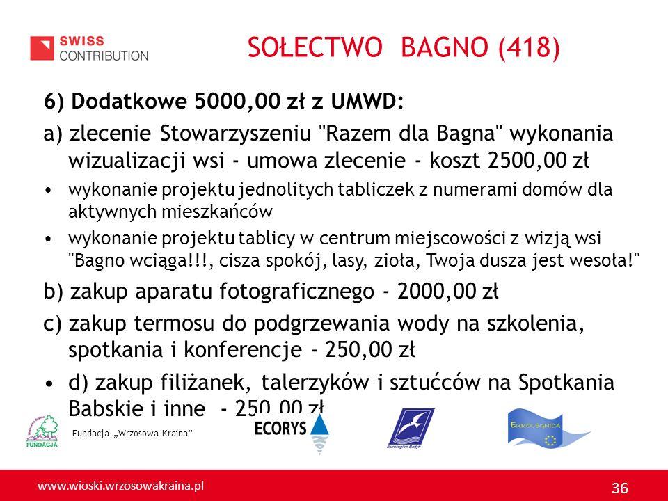 www.wioski.wrzosowakraina.pl 36 6) Dodatkowe 5000,00 zł z UMWD: a) zlecenie Stowarzyszeniu