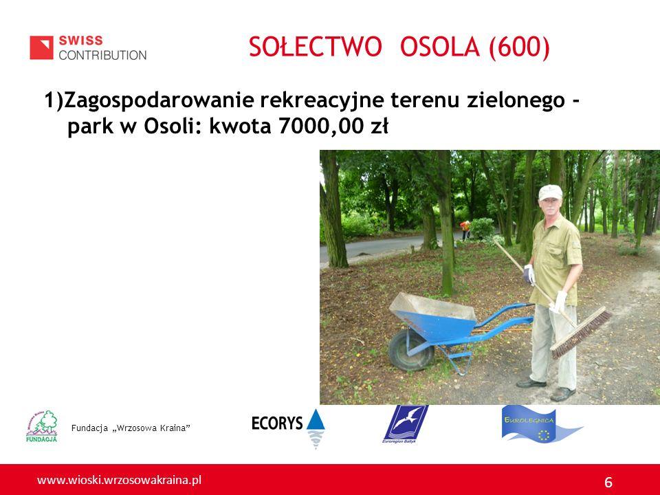 www.wioski.wrzosowakraina.pl 6 1)Zagospodarowanie rekreacyjne terenu zielonego - park w Osoli: kwota 7000,00 zł Fundacja Wrzosowa Kraina SOŁECTWO OSOL