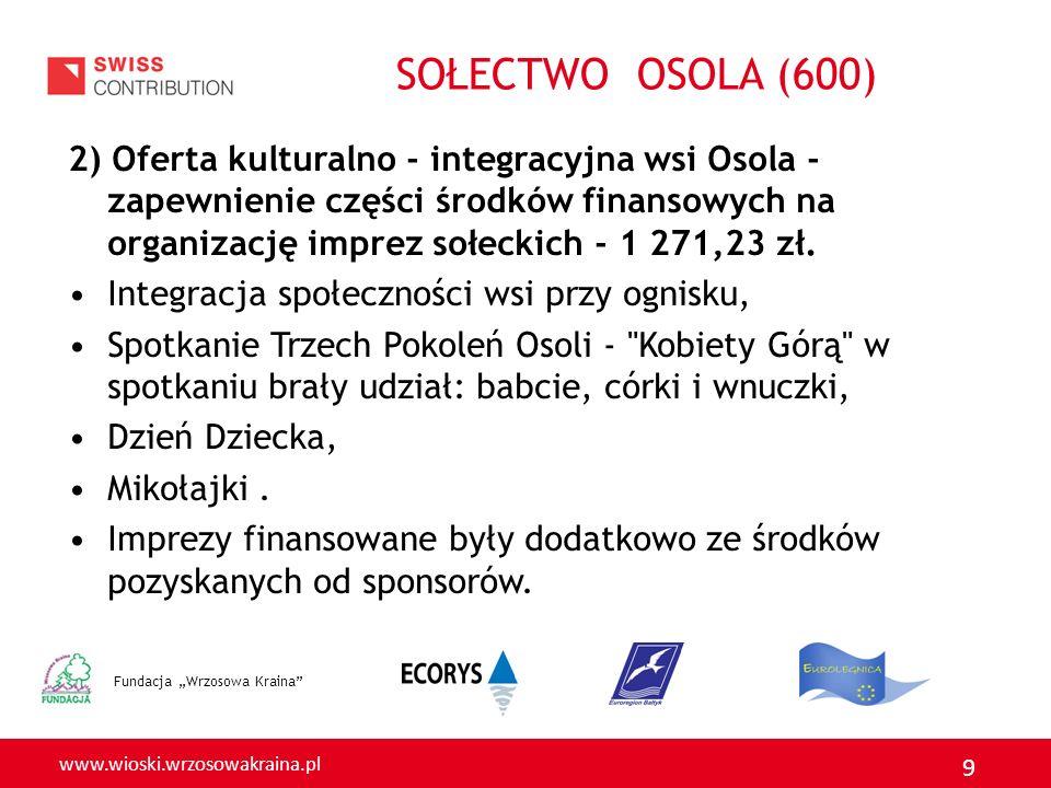 www.wioski.wrzosowakraina.pl 9 2) Oferta kulturalno - integracyjna wsi Osola - zapewnienie części środków finansowych na organizację imprez sołeckich